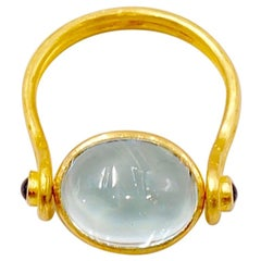 Scrives 5.32 Carat Aquamarine and Sapphire Cabochons 22 Karat Gold Ring