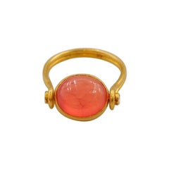 Scrives 5.73 Carat Rhodocrosite Cabochon Diamond 22 Karat Gold Ring