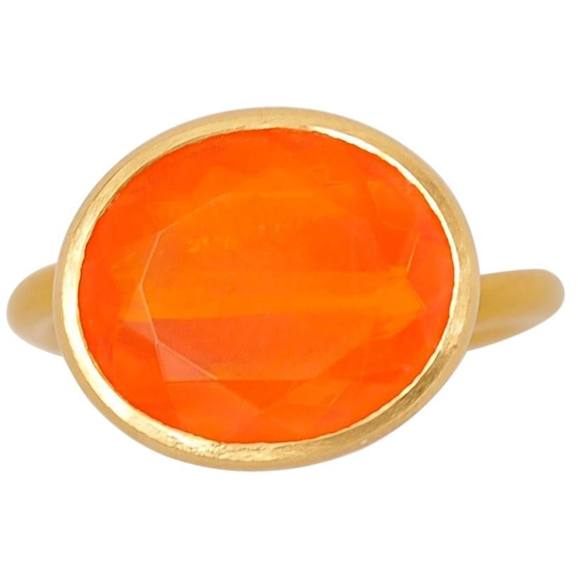 Scrives 5.87 Carat Orange Fire Opal 22 Karat Gold Ring