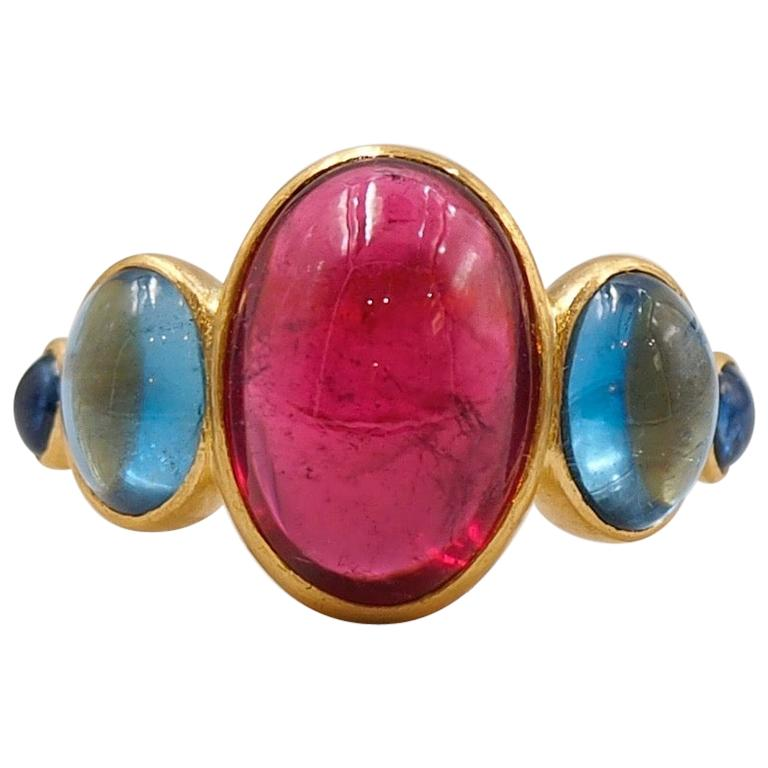 Scrives 5.92 Carat Rubelite Aquamarine Sapphire Cabochons 22 Karat Gold Ring For Sale