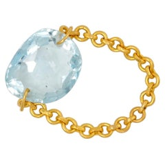 Scrives 6.73 Carat Aquamarine 22 Karat Gold Chain Ring
