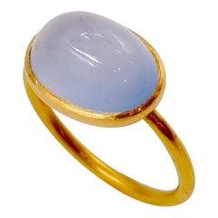 Scrives 6.89 Carat Blue Chalcedony Cabochon 22 Karat Gold Ring
