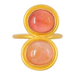 Scrives 9.34 Carat Orange Peach Two Shades Tourmalines 22 Karat Gold Ring