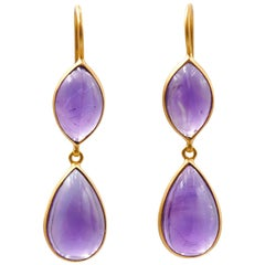 Scrives Amethyst Cabochon Drop 22 Karat Gold Earrings