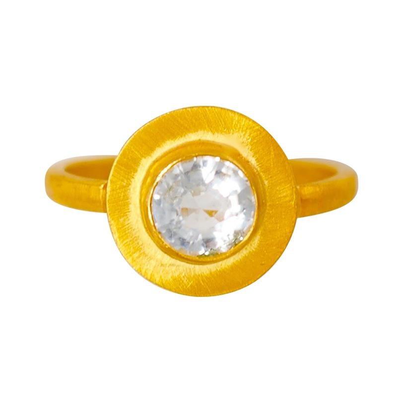 Scrives Aquamarine Sun Disk 22 karat Gold Ring
