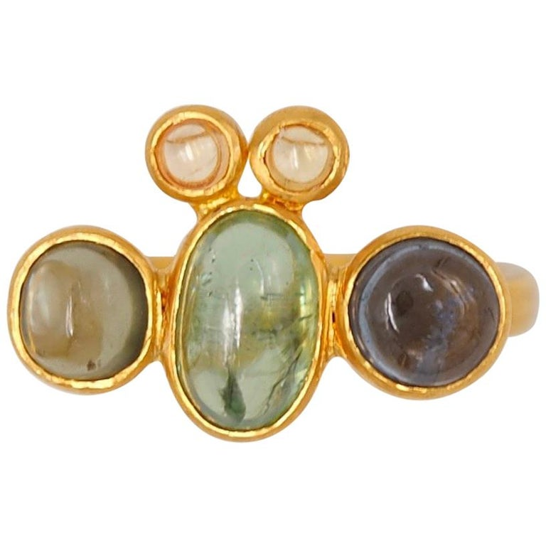 Scrives Bee Tourmaline Sapphire Cabochon 22 Karat Gold Ring For Sale