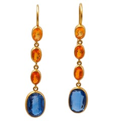 Scrives Blue Kyanite Fire Opal 22 karat Gold Drop Dangle Earrings