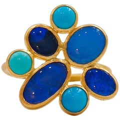 Scrives Blue Opal Turquoise 22 karat Gold Ring
