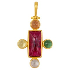 Scrives Cross Rubelite Sugarloaf Tourmaline 22 karat Gold Pendant