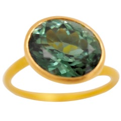 Scrives Deep Green Tourmaline 22 Karat Gold Ring