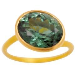 Scrives 5.05 carats Deep Green Tourmaline 22 Karat Gold Ring