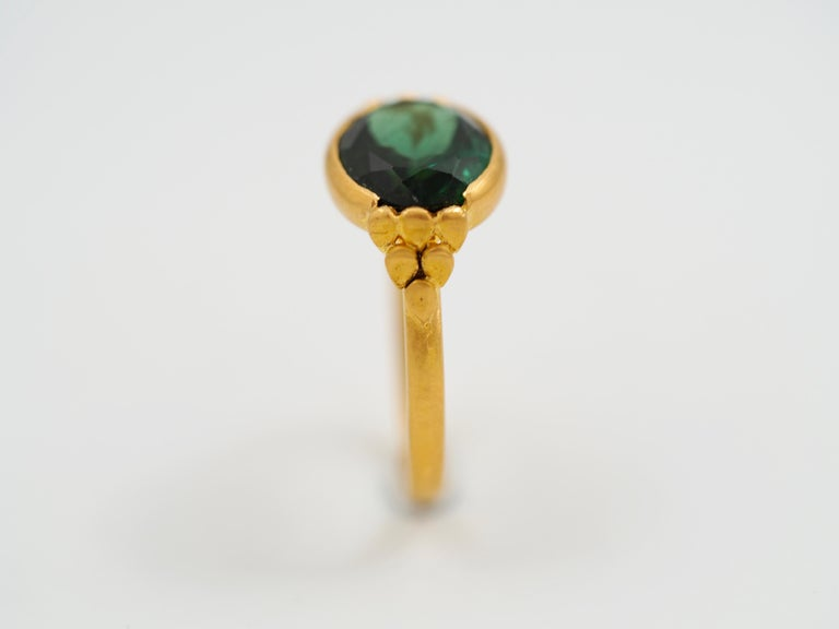 Contemporary Scrives Green Tourmalines 22 Karat Gold Ring For Sale