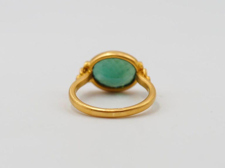 Scrives Green Tourmalines 22 Karat Gold Ring In New Condition For Sale In Paris, Paris