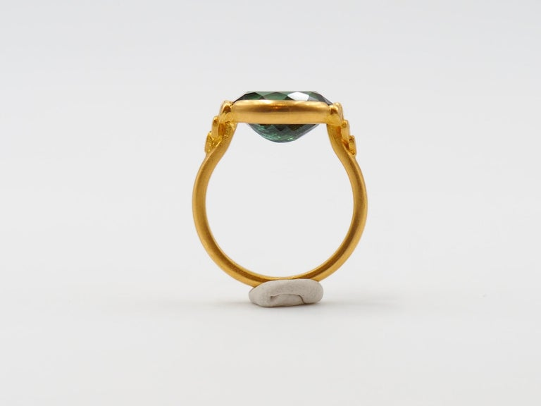 Women's Scrives Green Tourmalines 22 Karat Gold Ring For Sale