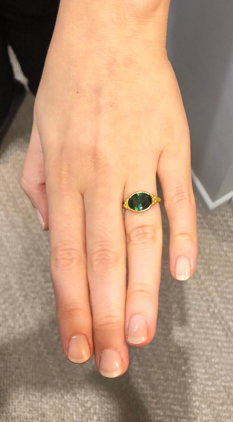 Scrives Green Tourmalines 22 Karat Gold Ring For Sale 1
