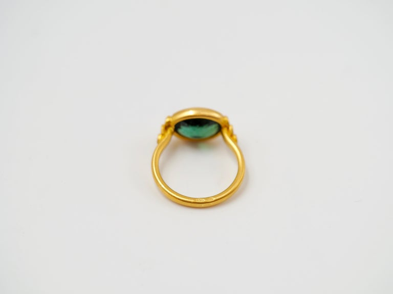 Scrives Green Tourmalines 22 Karat Gold Ring For Sale 2