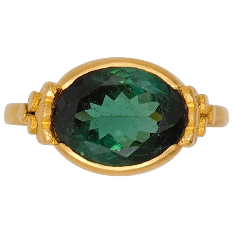 Scrives Green Tourmalines 22 Karat Gold Ring For Sale