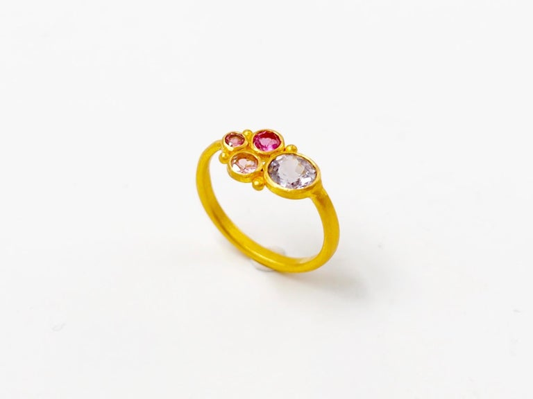 Contemporary Scrives Grey Spinel Pink Tourmaline 22 Karat Gold Ring For Sale