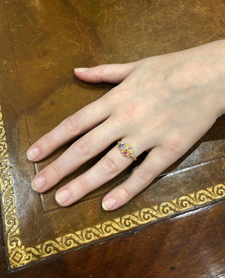Women's Scrives Grey Spinel Pink Tourmaline 22 Karat Gold Ring For Sale