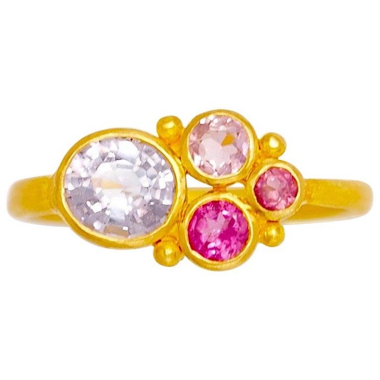 Scrives Grey Spinel Pink Tourmaline 22 Karat Gold Ring For Sale