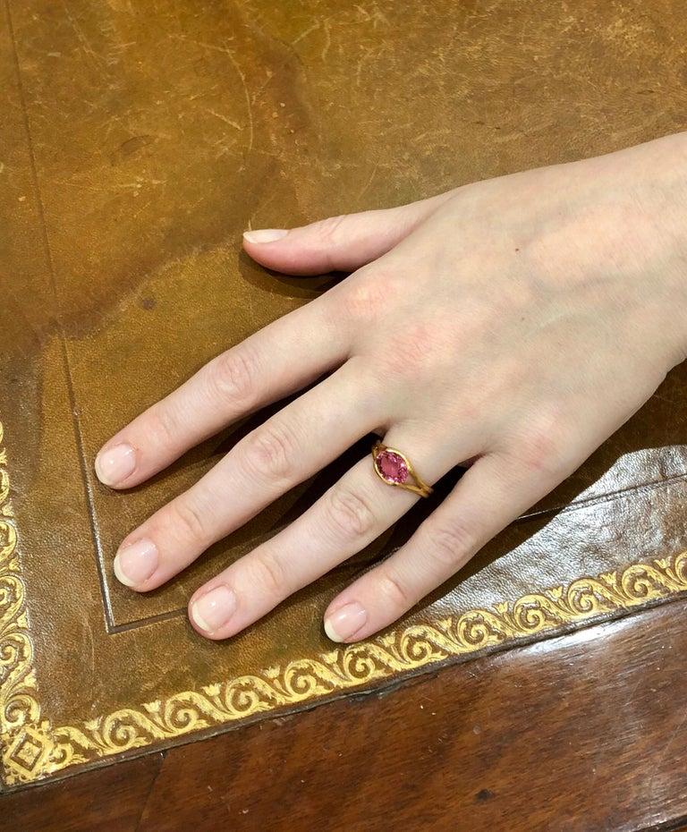 Scrives Hot Pink Tourmaline 22 Karat Gold Ring For Sale 2