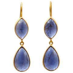 Scrives Iolite Cabochon Drop 22 Karat Gold Earrings