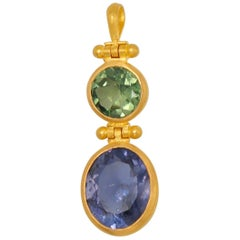 Scrives Iolite Green Apatite 22 karat Gold Double Swivel Pendant