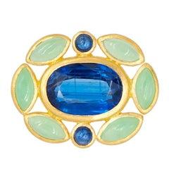 Scrives Kyanite Chrysoprase Sapphire 22 Karat Gold Ring