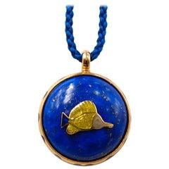 Scrives Lapis Lazuli Double Side Fish Mina Kari Enamel 23 Karat Gold Pendant