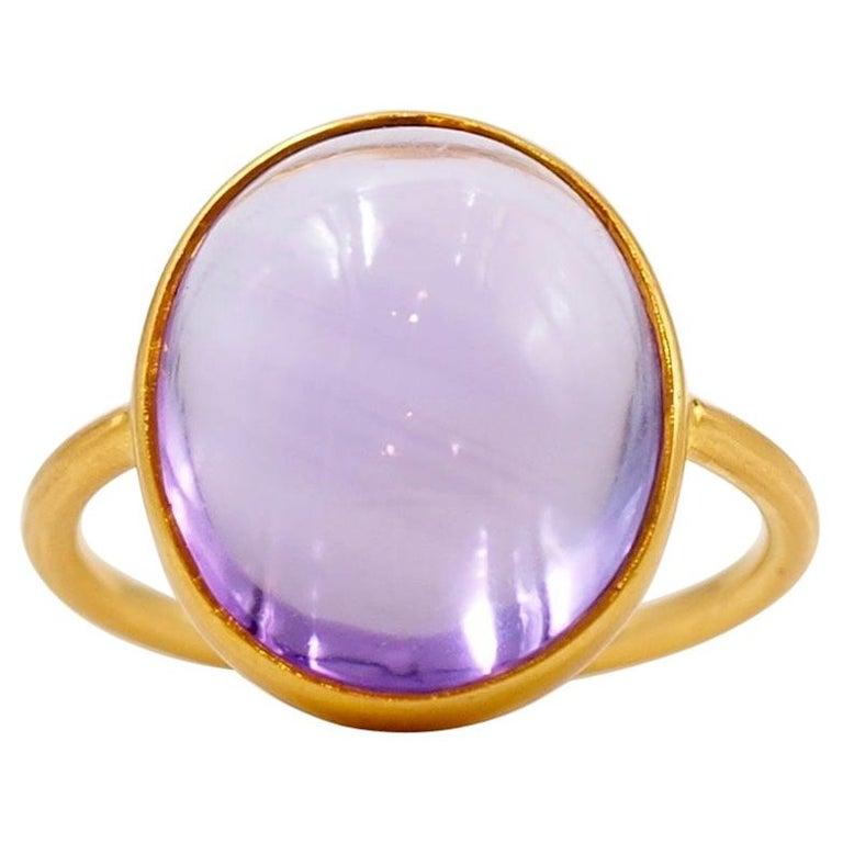 Scrives Light Amethyst Cabochon 22 Karat Gold Ring For Sale