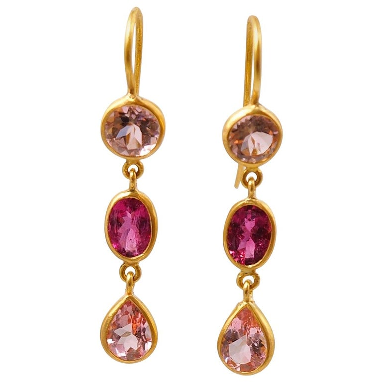 Scrives Light And Purple Pink Tourmaline 22 Karat Gold Earrings For