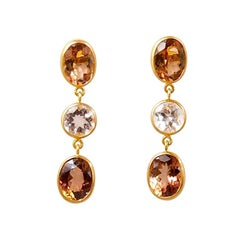 Scrives Orange Peach Tourmaline Morganite 22 karat Gold Earrings