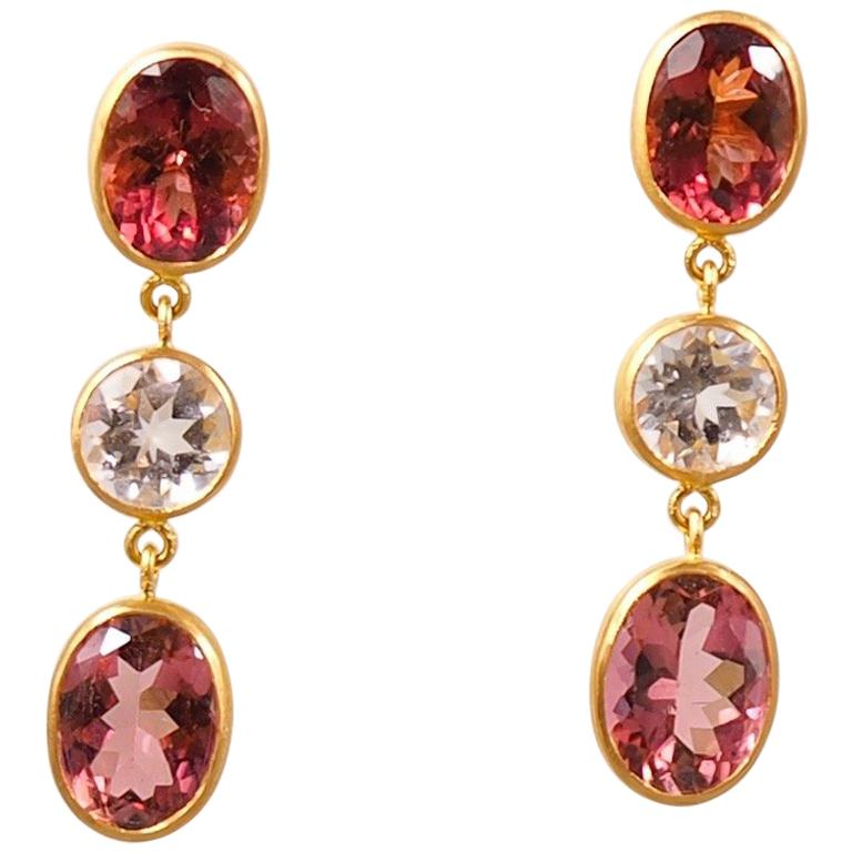 Scrives Morganite Purple Tourmaline 22 Karat Gold Earrings For Sale