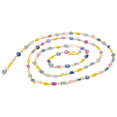 Scrives Multi-Color Sapphires 22 Karat Gold Necklace