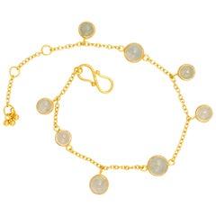 Scrives Natural Translucent Jadeite / Jade Cabochon 22 Karat Gold Bracelet