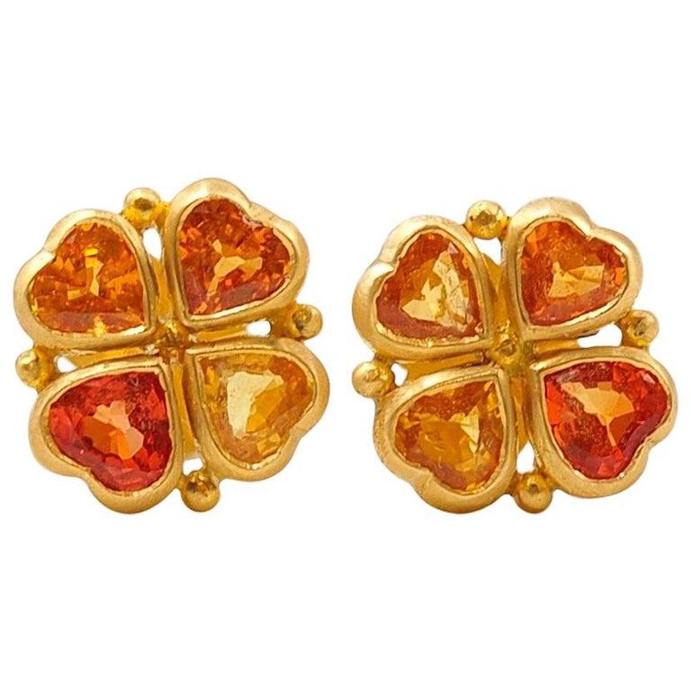 Scrives Orange Yellow Heart Sapphires 22 Karat Gold Stud Earrings For Sale