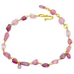 Scrives Pink Purple Spinels 22 Karat Gold Bracelet