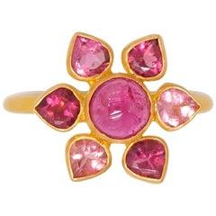 Scrives Pink Purple Tourmaline Flower 22 Karat Gold Ring