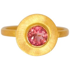 Scrives Pink Tourmaline Sun Disk 22 Karat Gold Ring