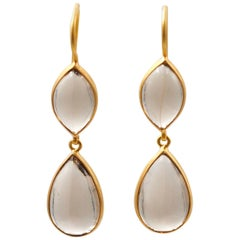 Scrives Smoky Quartz Cabochon Drop 22 Karat Gold Earrings