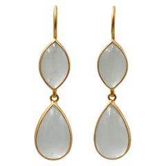Scrives Translucent Aquamarine Cabochon Drop 22 Karat Gold Earrings