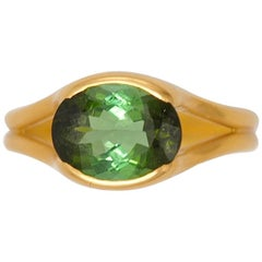 Scrives Two Colour Green Tourmaline 22 Karat Gold Ring