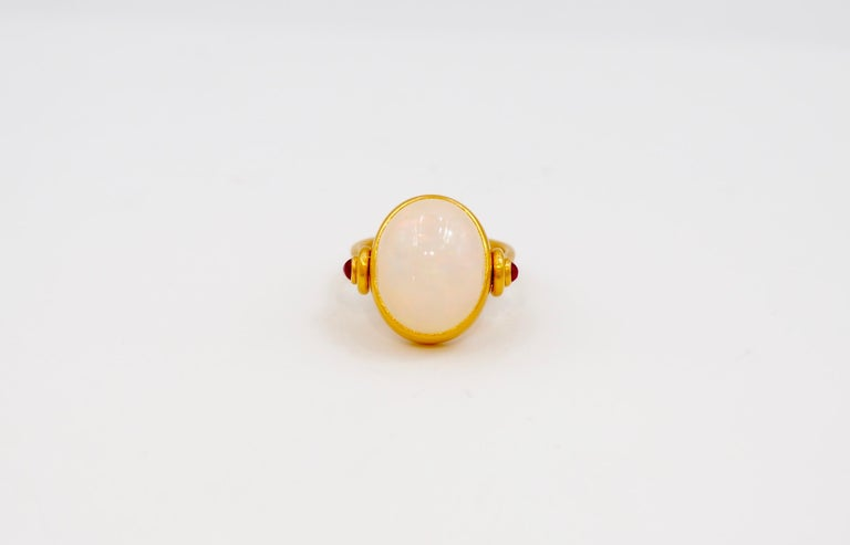 Contemporary Scrives White Opal and Rubies 22 Karat Gold Ring For Sale