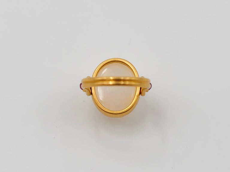 Scrives White Opal and Rubies 22 Karat Gold Ring In New Condition For Sale In Paris, Paris