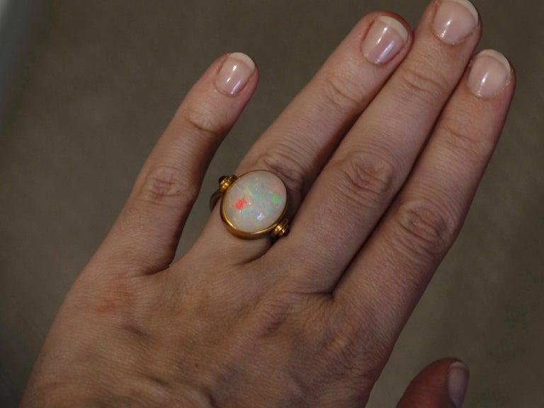 Scrives White Opal and Rubies 22 Karat Gold Ring For Sale 2