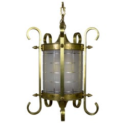 Scroll and Spike Cylindrical Beveled Glass Lantern