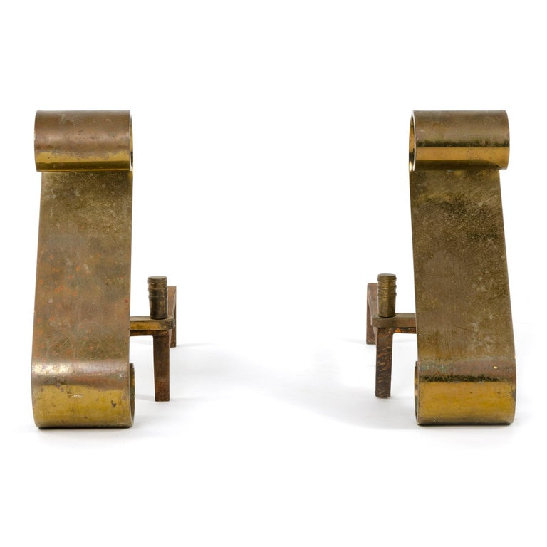 Art Deco Scroll Andirons For Sale