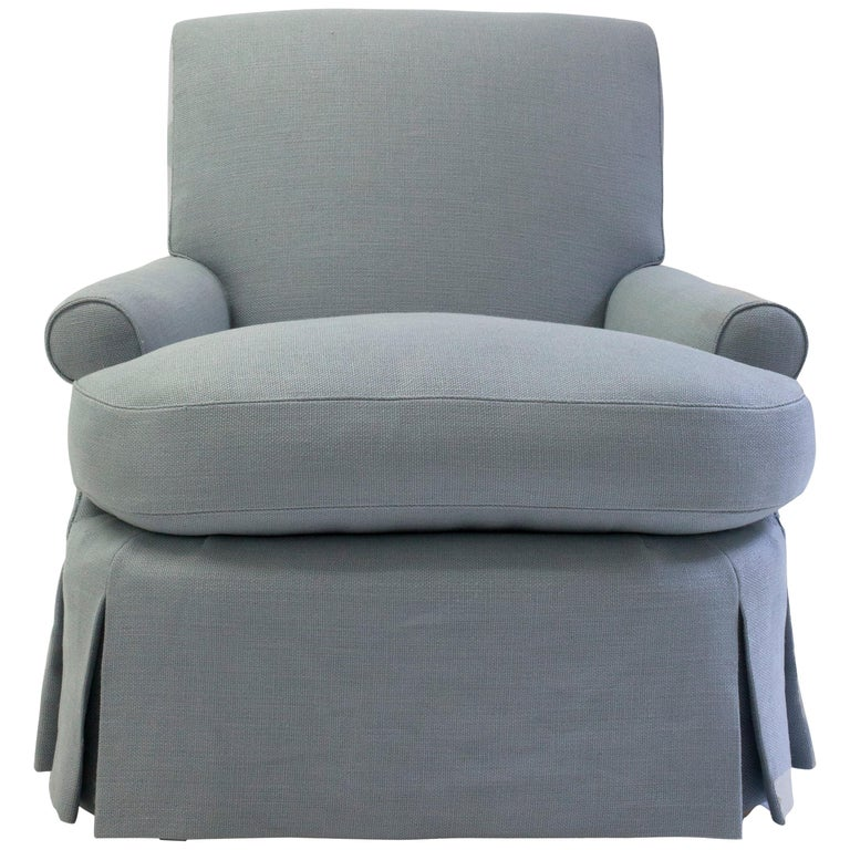 Scroll Back and Scroll Arm Club Chair with Loose Seat Cushion and Pleated Skirt For Sale