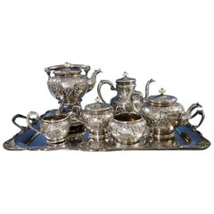 Scroll by Durgin Sterling Silver Coffee Tea Set 7pc with Kettle on Stand '#2971'