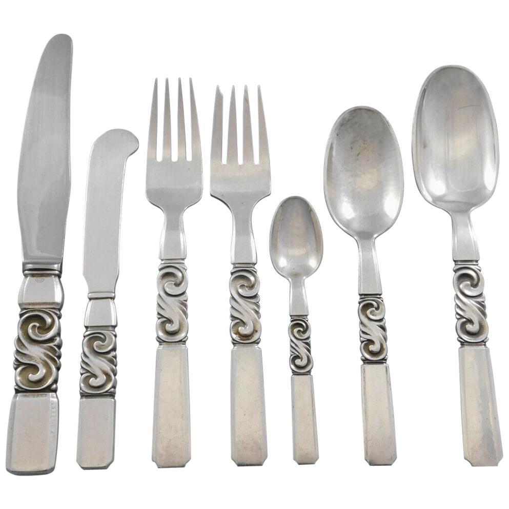 Scroll by Georg Jensen Danish Sterling Silver Flatware Set Service 56 Pieces